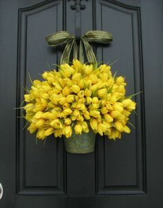 Tulips – Yellow Tulips – Metal Wall Pocket – Shabby Chic Decor – Galvanized Bucket – Country Decor – Rustic Tin Wall Pocket