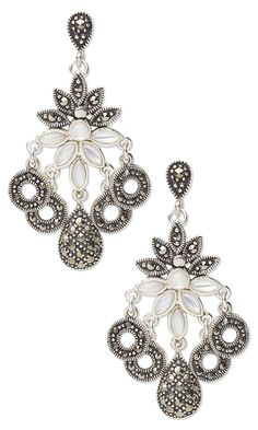 Earrings with Rainbow Moonstone Jeweled Sterling Silver and Marcasite Components - Fire Mountain Gems and Beads