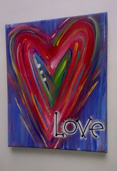 Heart Love Canvas Painting on Etsy, $15.00