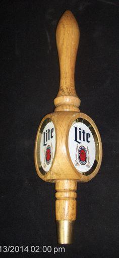 Vintage Excellent 3 sided wooden MILLER LITE Beer Tap Handle Lot #89.  Ebay #201075824906