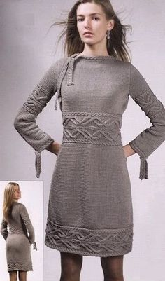 The description of the text is taken from the journal. The gray dress is knitted with knitting needles No. 4 of 650 g of cotton. The size is Knitting pattern and description of the dress with knitting needles. Knitting Designs, Knitting Patterns Free, Free Knitting, Free Pattern, Knitting Charts, Knitting Needle Size Chart, Knitting Needles, Knitting Yarn, Gray Dress
