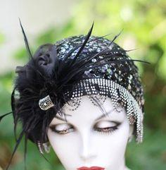 1920's Flapper Great Gatsby Cloche Hat Art Deco Black by BuyGail