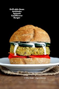 Artichoke Spinach Cauliflower Bean Burgers. Grill-able Vegan Veggie Burger Recipe. - Vegan Richa #vegan #burger