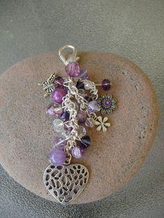 Bold Heart and Purple Crystal Beaded Purse by GreenInspiredDesigns