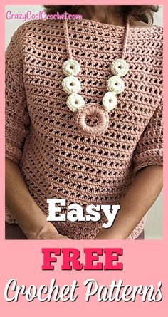 Super easy crochet sweater perfect for spring. Learn to crochet sleeves easily. Perfect transition sweater from winter to spring or summer to fall. Also free pattern for crochet necklace. Cardigan Au Crochet, Crochet Blouse, Sweater Knitting Patterns, Easy Knitting, Tunic Sweater, Knitting Sweaters, Knitting Scarves, Pull Crochet, Chunky Crochet