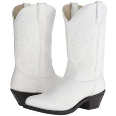 Durango RD4111 (White Leather) Women's Boots ($120) ❤ liked on Polyvore featuring shoes, boots, mid-calf boots, western boots, cowboy boots, leather boots, white boots and leather cowgirl boots