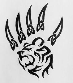 Black Celtic Bear Paw Tattoo Stencil