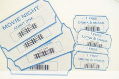 a little delightful: {printable} movie night tickets + snack bar labels