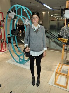 simple sweater over oversized blouse/button down...via the man repeller