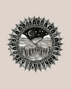 Mandala Mountains Tattoo Commission - thigh tattoo ?