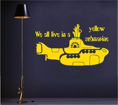 We all live in a yellow submarine ver-2 vinyl wall art decal. $16.00, via Etsy.