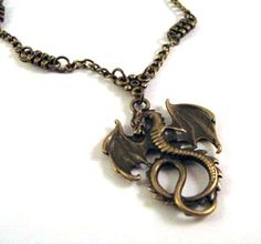 Dragon necklace simple jewelry antique brass bronze goth victorian vintage style winged dragon jewelry