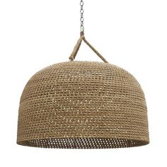 Oversized pendant intricately woven with a core rattan frame accented with natural rope details and three braided hangers. Pendant is complete with a nickel fin