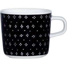 Marimekko Oiva/Muija Coffee Cup ($23) ❤ liked on Polyvore featuring home, kitchen & dining, drinkware, black, marimekko and black coffee cups