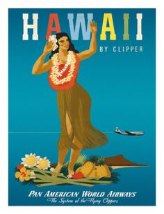 I think this vintage-style Hawaii tourism poster might be fun in the baby's room #DiaperscomNursery