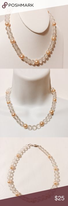 "☀️ Vintage Matte Crystal & Pearls Chocker Simply darling! Elegantly and simplicity at its best. Rich and creamy pearls scattered amidst matte Crystal beads. 19"" overall length Jewelry Necklaces"