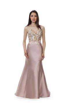8c0b8ca9e16bc Style 6516 Floral embroidery on Silk Radzimir v-neck sleeveless gown in  Blush