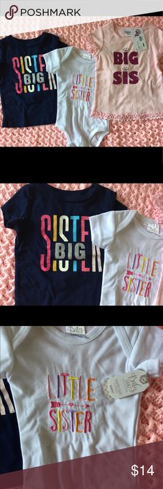 3 Tees Big Sister and Little Sister. 3 Tees Big Sister and Little Sister.  Navy is 2T from Carters. White is 3-6 months from Baby Ganz NWT. Pink is 4T (looks small) from Reflections NWT Carter's Shirts & Tops Tees - Short Sleeve