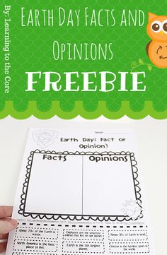 Freebie Earth Day: Fact and Opinion by Amanda Zanchelli 1st Grade Science, Teaching First Grade, Teaching Science, Teaching Resources, Teaching Ideas, Earth Day Activities, Holiday Activities, Science Activities, Recycling Facts