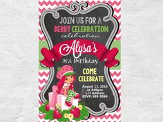 Strawberry Shortcake Princess Birthday Invitation Chalkboard Chevron Pattern Strawberry Shortcake Invitation by VPrintables on Etsy https://www.etsy.com/listing/216172377/strawberry-shortcake-princess-birthday