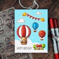 Das Stempelset ist wirklich so so toll, da werde ich ganz sicher noch mehr damit machen Air Balloon, Balloons, Scrapbook Cards, Scrapbooking, Paper Crafts, Diy Crafts, Lawn Fawn, Homemade Cards, Making Ideas