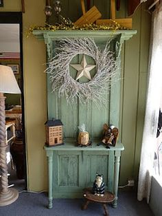 Door with shelf - fabulous! Have to find old doors. Old Door Projects, Furniture Projects, Furniture Makeover, Home Projects, Diy Furniture, Primitive Furniture, Repurposed Furniture, Painted Furniture, Repurposed Doors