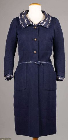 Dress, silk and leather, Coco Chanel designer for House of Chanel, French, Sailor Shirt, Sailor Dress, Chanel Paris, Coco Chanel, Coat Dress, Shirt Dress, Chanel Designer, Navy Coat, Chanel Couture