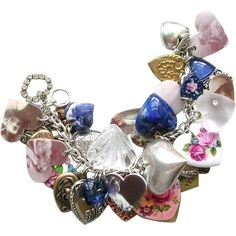 Vintage Style All Hearts Charm Bracelet Old Photos Altered Art