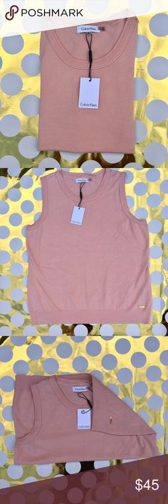 Calvin Klein Ribbed Trim Sleeveless Pullover Pink Sleeveless Top with logo at the left hip. Crew neckline.  (1st photo is for outfit ideas. Not the sweater itself) 🌷OFFERS ACCEPTED🌷 Calvin Klein Sweaters Crew & Scoop Necks