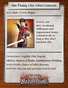 Knights of Baddassdom Character Cards