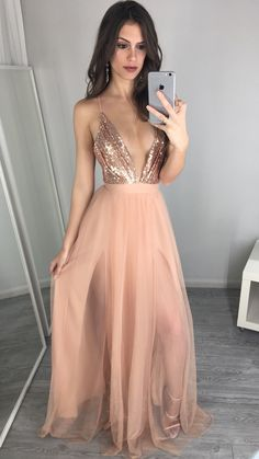 Sexy V-Neck Sequin Long Prom Dresses Tulle Backless Prom Dresses Evening  Party Dresses Graduation 0595721da956