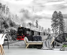 Black And White Wallpaper, Tapestry, Wallpapers, Train, Outdoor, Home Decor, Hanging Tapestry, Outdoors, Tapestries
