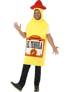 You can purchase a Unisex Tequila Bottle Costume for Halloween parties from the Halloween Spot. This Tequila bottle costume is a yellow jumpsuit made for comfort. Mexican Fancy Dress, Mexican Dresses, Mexican Costume, Mexican Party, Costumes Beginning With T, Bristol, Adult Costumes, Halloween Costumes, Funny Costumes