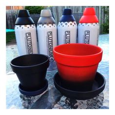 Spray painted terracotta planters. #PlutoniumPaint #SprayPaint #MadeInTheUSA