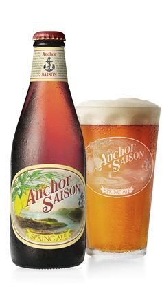 "Anchor Saison Spring Ale - ""a traditional Belgian-style saison with a California twist. The distinctiveness of roasted Belgian wheat malt is enhanced by the peppery, clove-like flavors of a locally cultured saison-style yeast."" - Anchor Brewing, San Francisco CA (12oz 7.2%) March 2016"