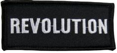 """Amazon.com: [Single Count] Custom and Unique (1 1/2"""" by 3 1/2"""" Inches) Revolution Name Tag Badge Iron On Embroidered Applique Patch {Black & White Colors}"""