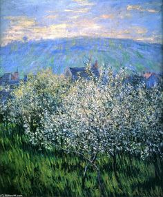 "Pruniers en Fleurs ( Plums Blossom ) - Claude Monet 1879 French Oil on canvas "" Camille Pissarro, Claude Monet, Pierre Auguste Renoir, Monet Paintings, Landscape Paintings, Flower Paintings, Artist Monet, Impressionist Paintings, Wassily Kandinsky"