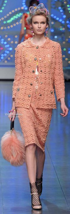 Dolce & Gabbana Brings the Bling 2014  Perhaps a different color, but love the idea of a feminine suit with booties.