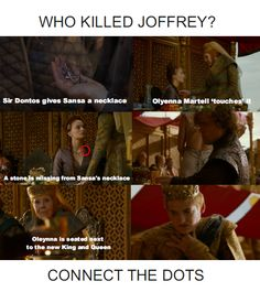 Who killed Joffrey? Connect the dots.Game of Thrones. The Lion and the Rose. Purple Wedding. Joffrey Baratheon.