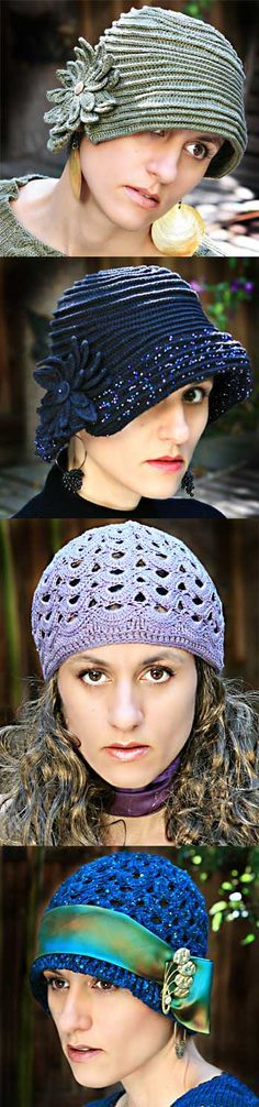 Crochet Pattern - Classic Crochet Cloches - 1 Pattern w/ slight modifications can make 4 different designs.