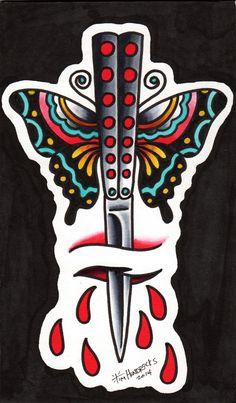 Risultati immagini per butterfly knife tattoo