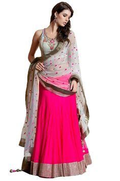 Pink Semi Stitched Georgette Designer Lehenga Choli - Rs. 1610.00