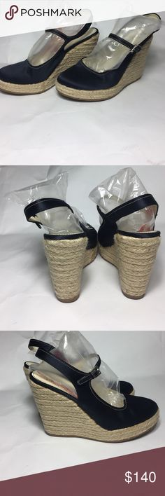 "Prada Blue Satin Espadrille Wedge SZ 7.5 NEW VTG PRADA New no box or tags. Vintage dark blue Satin round toe Slingback Espadrille wedge. Size 37.5 made in 🇮🇹 Italy. Size 7.5 US. No signs of wear. Only small discoloration on left inner foot. Not noticeable. No signs of wear on outer soles or inside shoe. Heel is approximately 4.5"" inches. Prada Shoes Espadrilles"