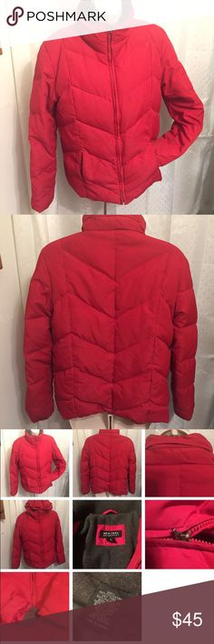 Warm down red puffer jacket New York and Company size medium red down jacket fleece lining 2 interior pockets one zippered 1 velcro closure  2 invisible zippers on the outer sides  Sweater like sleeve to keep the cold out I shown in pictures Zippered enclosed hood with pull cords to tighten Laying flat measurements are as follows :  19 inches armpit to armpit 24 inches shoulder to hem 24 inches sleeve  All items are from smoke free environment unless specified New York & Company Jackets…