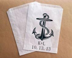 Candy Bar Buffet Bags Nautical Wedding Favor Bag Anchor and Initials