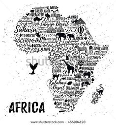 Typography poster. Africa map. Africa travel guide.