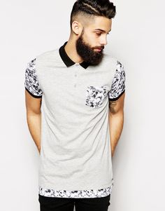 Image 1 of ASOS Longline Polo With Double Layer And Marble Print