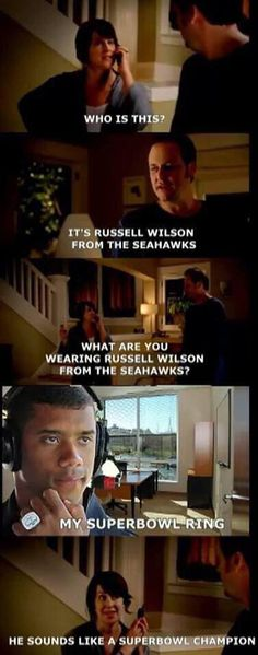 What are you wearing Russell Wilson? Seahawks Fans, Seahawks Football, Broncos Fans, Football Baby, Seahawks Memes, Nfl Memes, Football Memes, Sports Memes, Seattle Sounders