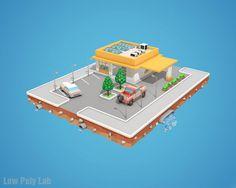 Cartoon Car Service Download Low Poly 3D Model