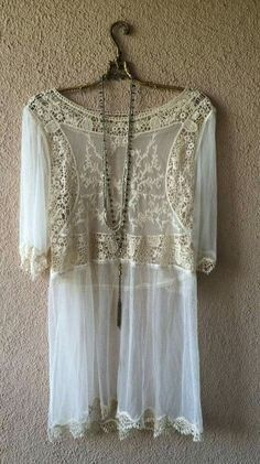 Anthropologie lace and crochet romantic spring dress / Bohemian Angel Lace Romper, Lace Tunic, Bohemian Style, Bohemian Gypsy, Gypsy Style, Vintage Bohemian, Vintage Lace, Boho Chic, Shabby Chic